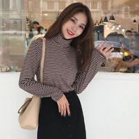 Korean Women Turtleneck Stripe Long Sleeve Basic T Shirt Casual Loose Blouse Top