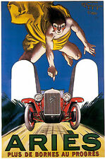 VINTAGE Francese SPORTS CAR ARIES MOTORE RACING CORSA poster art print A4