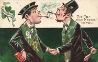 1909 VINTAGE COMIC IRISH PIPE of PEACE with SECRETLY WARRING IRISHMEN POSTCARD