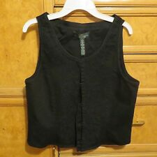 Women's Ralph Lauren L-RL jeans co embroidered black jean vest size 6 NWT $170