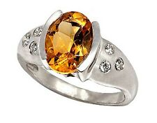 14k White Gold Ring w/ 10x8mm Genuine Citrine and 0.12ctw Diamonds. (R606)