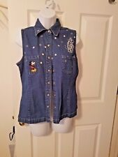 Womens Size Medium DISNEY Mickey & Minnie Mouse Denim Embroidered Vest