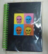 Spiral hard Notebook Day of the Dead Sugar Skulls design, 60 sheets, green black