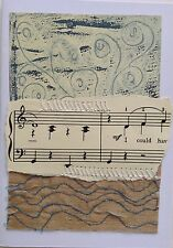 Music Themed Original Painting And Fabric Covered Machine Embroidery Gift Card