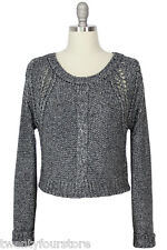 NWT $245 Twelfth Street by Cynthia Vincent Cropped Heather Grey Sweater sz M