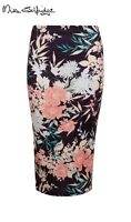 EX Miss Selfridge Black Pink White Oriental Autumn Floral Midi Pencil Skirt 8 10