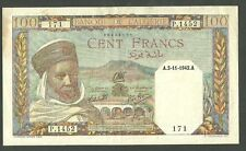 1942 Algeria 100 Francs Currency Note Pick 88 Paper Money