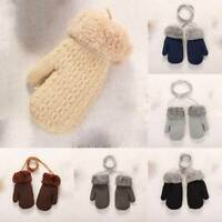 Warm Knitted String UKX Baby Boys with Neck Girls Winter Gloves Toddler Mittens