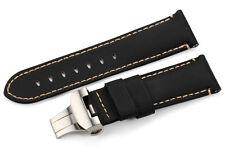 24mm Black Handmade Fabric/Canvas Watch Band Deployment Strap For Panerai