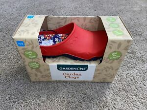 Gardenline Garden Clogs NEW IN BOX RED FLORAL Size 7/8