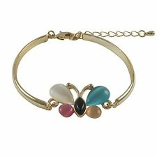 Butterfly Teens Womens Bangle Bracelet Gold Plated Multi Color Cat Eye