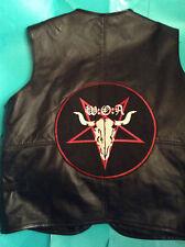 Wacken Open Air Metal Crew Leather Waistcoat Vest Biker W.O.A. Skull Pentagram