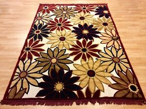 Silk Like Turkish Throw Floral Dark Red Beige Washable Rug 200x300cm 60%OF