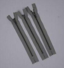 "YKK #4 4mm Close-End Gray Zipper w/ Antique Nickel Metal Teeth 6"" - 2 zips"