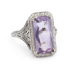 Antique Deco Amethyst Filigree Ring Vintage 14k White Gold Estate Fine Jewelry