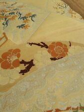 BORO Japanese Vintage KIMONO OBI Textile Antique folding fan Rayon 33x95cm
