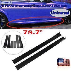 78.7'' Gloss Black Car Side Skirt Body Kit Extension Splitter Diffuser Panel Lip