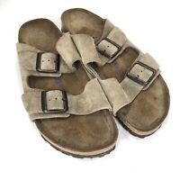 Birkenstock Women Size 40 Soft Footbed Suede Leather Taupe Arizona Slide Sandals
