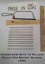 "Coping Saw +12 NEW Millers Falls pin blades (Top USA Brand) #60-6"" coarse tooth"