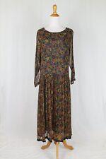 Vintage Papillion by Nataya 20's Inspired Long Sheer Black Floral Artsy Dress M