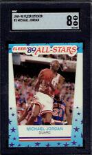 1989 Fleer Sticker 3 Michael Jordan HOF.  SGC 8 NMMT.  (1063-C).