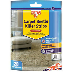 Carpet Beetle Killer Larvae Eggs Poison 20 Tear Off Strips Zero In Odour Free
