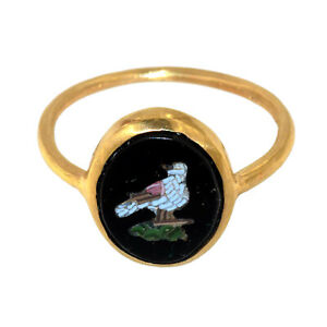 (3068) Micro Mosaic 18k Gold Ring, Roma, Second Half of the 19th c.