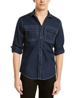 INC Mens Shirt Navy Blue Size 2XL Button Down Contrast-Seamed Bruce $49 #351