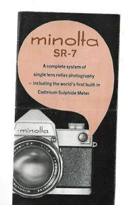 Vintage Minolta SR-7 advertising folder pamphlet