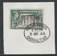 Gibraltar 5367 - 1938 KG6 1s P14 on piece with MADAME JOSEPH FORGED POSTMARK