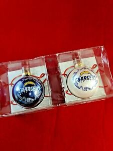 2 SAN DIEGO CHARGERS NFL GLASS BALL ORNAMENTS Topperscott Sports Collectors