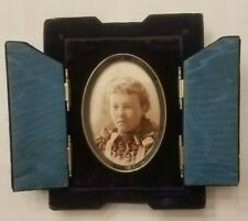 Antique Victorian Deep Cobalt Blue Velvet Mourning Picture Frame 1800s