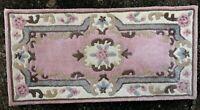 Chez Toi 100% Wool India Shensi Dynasty Rug. 60cm x 120cm Rose Pink Cream. RefA2