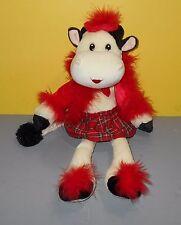 "16"" Floppy Bean Plush Dressed Up Red Plaid Fancy Fur Cow So Soft Stuffed Plush"