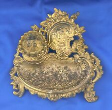 Antique Art Nouveau Ornate Cast Iron Footed Inkwell Desk Set with Angels Florals
