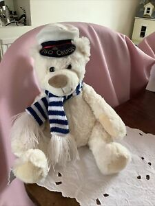 """P&O Cruises white Plush Teddy Bear 12"""" approx Vgc Suitable From Birth"""