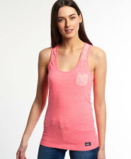 New Womens Superdry Super Sewn Lace Vest Top Snowy Ultra Pink