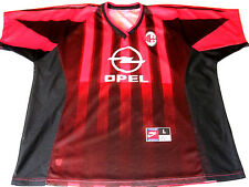 MILAN ITALY Team Nike Sports Opel 1899 Mens Soccer Jersey Sz L Red Black ~ RARE!