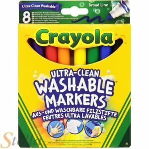 8 Colour Crayola Ultra Clean Washable Broad Line Marker Pens