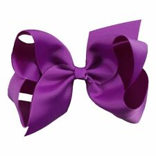 Purple hair bow clip school colour hair accessories