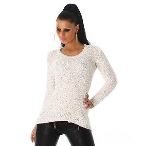 Pailletten Pullover one size 36/38 white