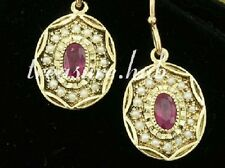 CE042 EXQUISITE Genuine 9ct Yellow Gold NATURAL RUBY & PEARL Oval Drop Earrings