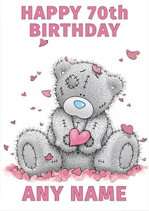 Personalised Tatty Teddy Bear Birthday Card, ADD A NAME, ANY AGE Personalized