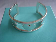 TIFFANY  sterling silver ~ 3 HEARTS WIDE CUFF BRACELET ~ box