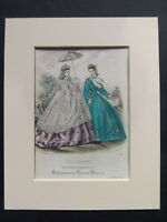 "ANTIQUE FASHION PRINT ENGLISHWOMANS DOMESTIC MAGAZINE DATED 1864 MOUNTED 10""x8"""