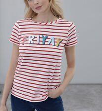 Joules Womens Nessa Print Lightweight Jersey T Shirt - FRIYAY Stripe Size 8