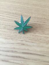 Green Leaf Weed Cannabis Metal Pin Badge