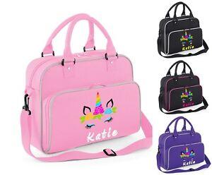 Personalised Shoulder Dance Bag Girls Unicorn Gymnastics Ballet School Gym Kit