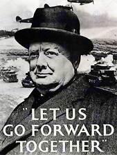 Guerra di propaganda Seconda guerra mondiale UK Churchill il primo ministro FORWARD ART PRINT posterbb7199b