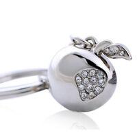Fashion Polished Chrome Crystal Apple Keychain Key Chain Ring Keyfob Keyring